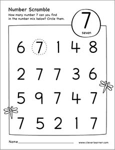 free printable kindergarten worksheets number 7 free best free printable worksheets. Black Bedroom Furniture Sets. Home Design Ideas