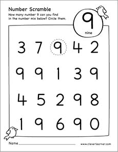 Number scramble activity worksheet for number 9 for preschool children – Number 9 Worksheet