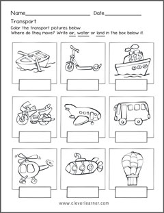 Forms of Transportation | Worksheet | Education.com