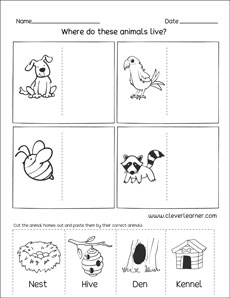 Animal houses printables and worksheets for preschools