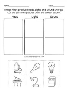 Sources of energy printables and worksheets for first grade and ...