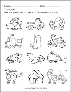 transportation forms worksheets for preschools. Black Bedroom Furniture Sets. Home Design Ideas