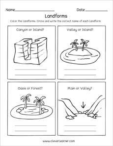 Landforms Printables And Worksheets For Kindergarten And Preschool