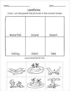 Landforms printables and worksheets for kindergarten and ...