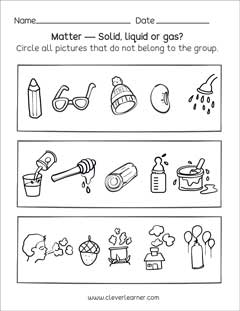 Preschool science worksheets on Matter