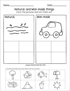 Natural Resources and Man-made things worksheets for preschools