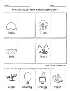 natural resources and man made things worksheets for