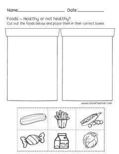 Preschool science worksheets on Healthy Foods