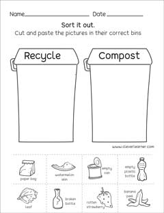 Preschool science worksheets on Waste Management, great for ...