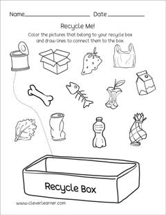 Preschool science worksheets on Waste Management, great for Earthday!