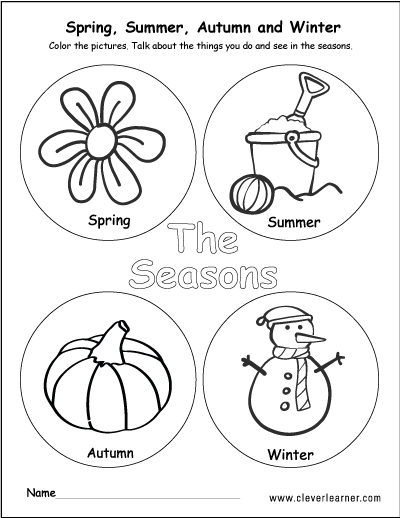 - The Four Seasons Of The Year Worksheets For Preschools