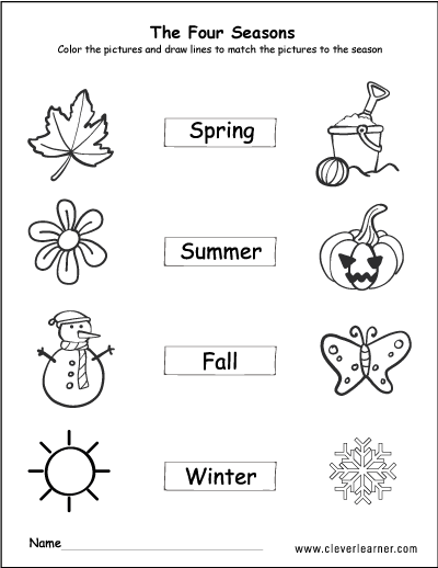 the four seasons of the year worksheets for preschools. Black Bedroom Furniture Sets. Home Design Ideas