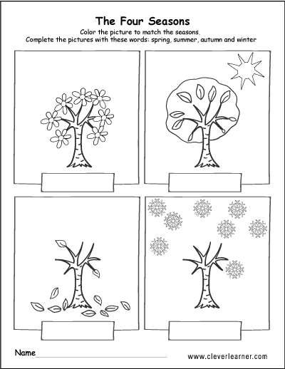 The four seasons of the year worksheets for preschools