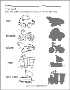 Transportation forms worksheets for preschools