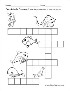 Animals That Live In Water Worksheets For Preschools