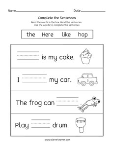 Learn to read and write short words in sentences activity ...