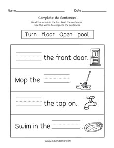 Learn to read and write short words in sentences activity sheets for ...
