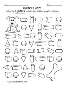 free cylinder worksheets for kindergartens. Black Bedroom Furniture Sets. Home Design Ideas