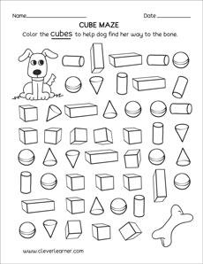 Free cube worksheets for children