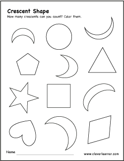 picture regarding Toddler Printable Activities identified as Free of charge crescent condition recreation worksheets for preschool kids