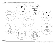 math worksheet : free cube worksheets for children : 3d Shapes Kindergarten Worksheets