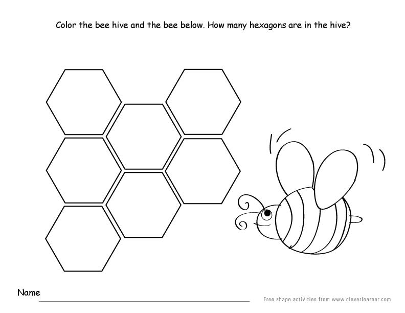 Hexagon shape activity sheets for school children – Hexagon Worksheet