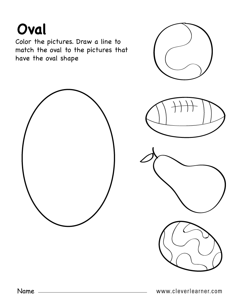 Free oval shape activity worksheets for preschool children – Matching Shapes Worksheet