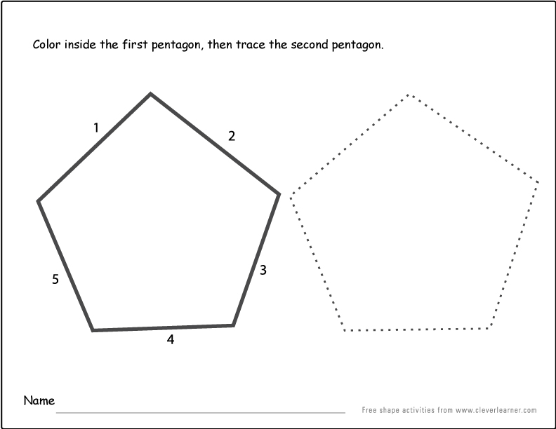 Pentagon shape activity sheets for school children – Activity Worksheets