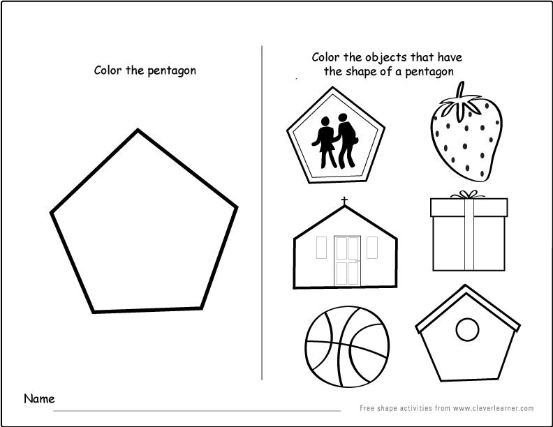 Pentagon worksheets for preschool pentagon best free for Pentagon coloring page