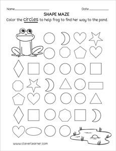 Circle shape activity sheets for preschool children
