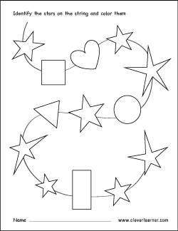Free star shape activity sheets for school children
