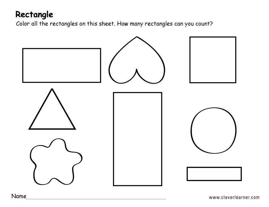 Rectangle shape activity sheets for school children