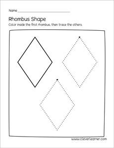 Free rhombus shape activity sheets for preschool children