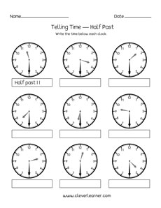 telling time half past the hour worksheets for 1st and 2nd graders. Black Bedroom Furniture Sets. Home Design Ideas