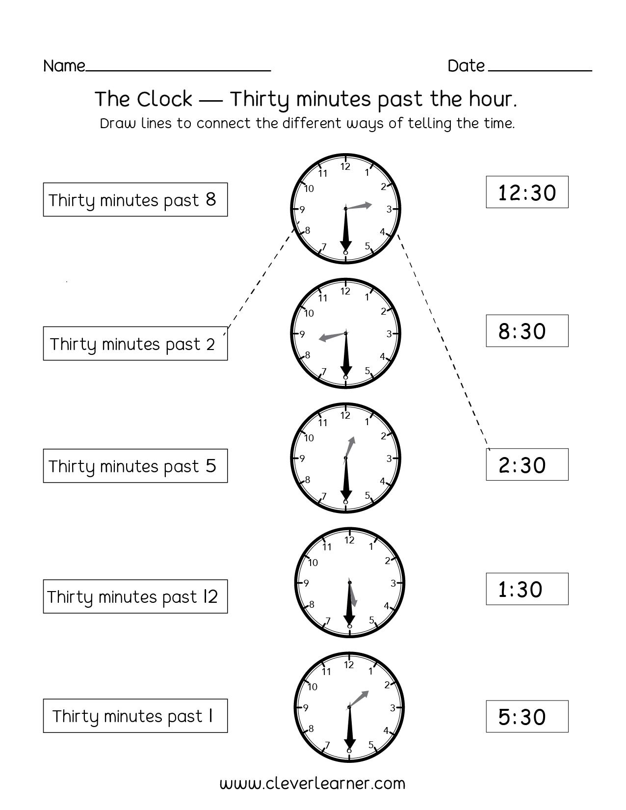 telling time half past the hour worksheets for 1st and 2nd graders. Black Bedroom Furniture Sets. Home Design Ideas
