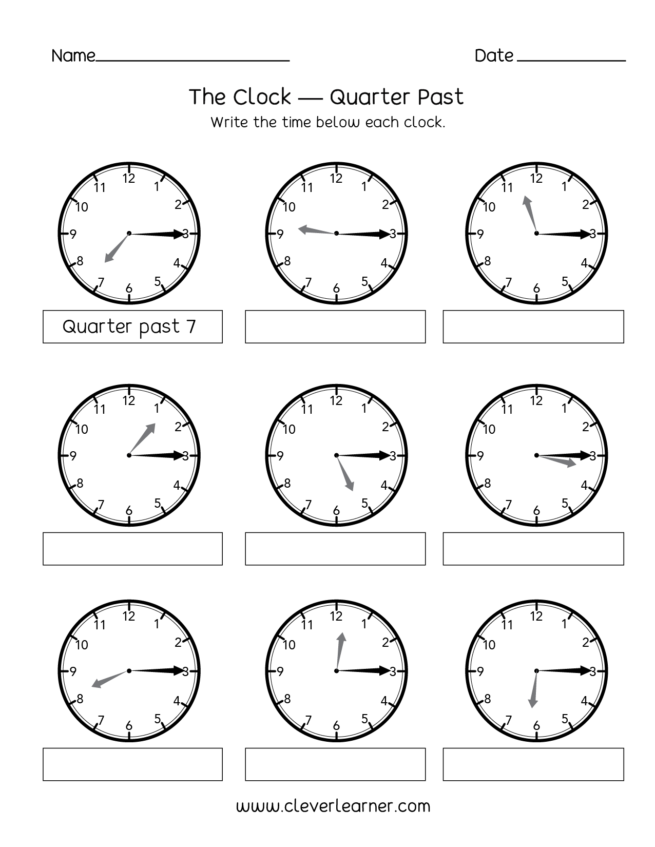 telling time quarter past the hour worksheets for 2nd graders. Black Bedroom Furniture Sets. Home Design Ideas