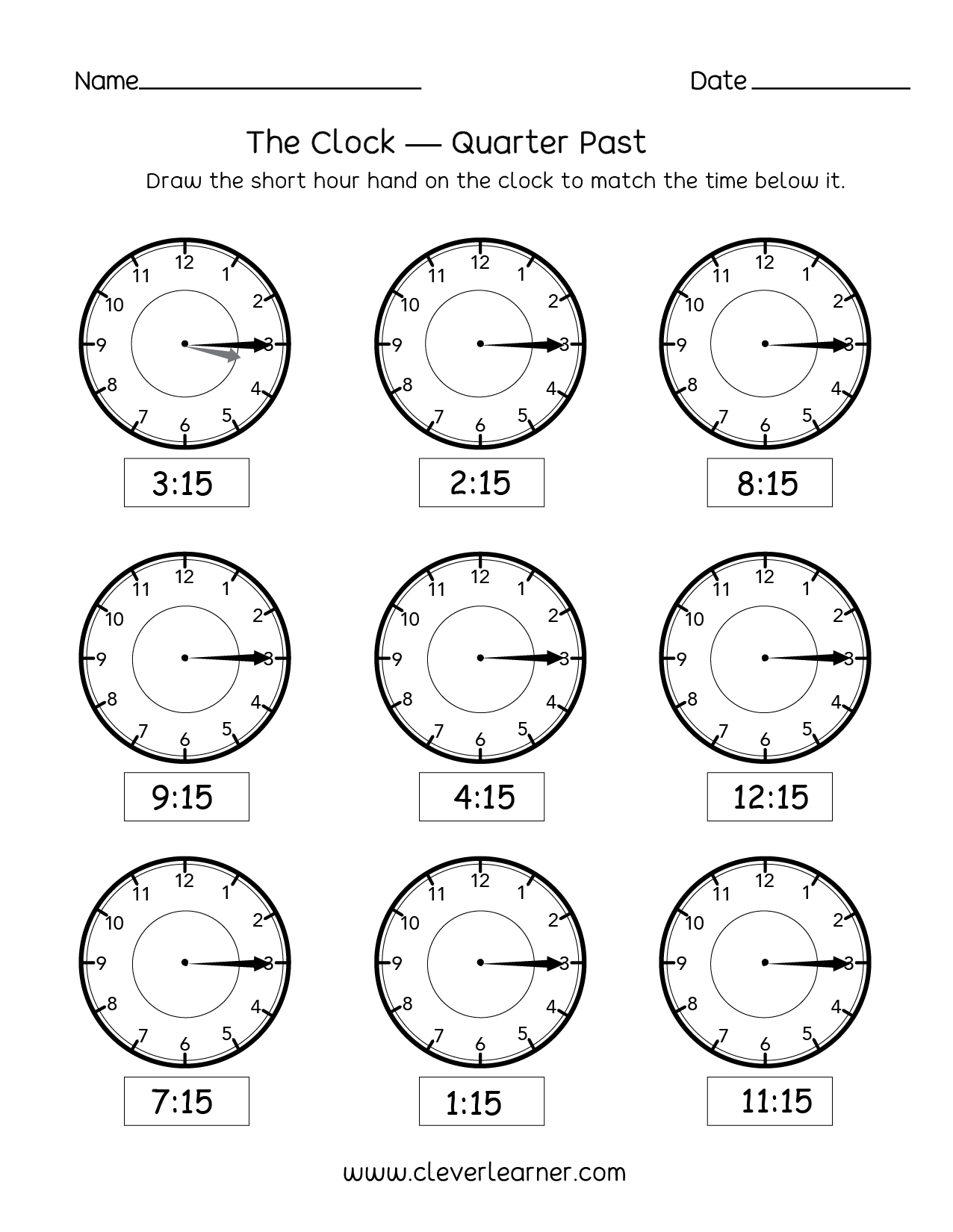 - Telling Time, Quarter Past The Hour Worksheets For 2nd Graders