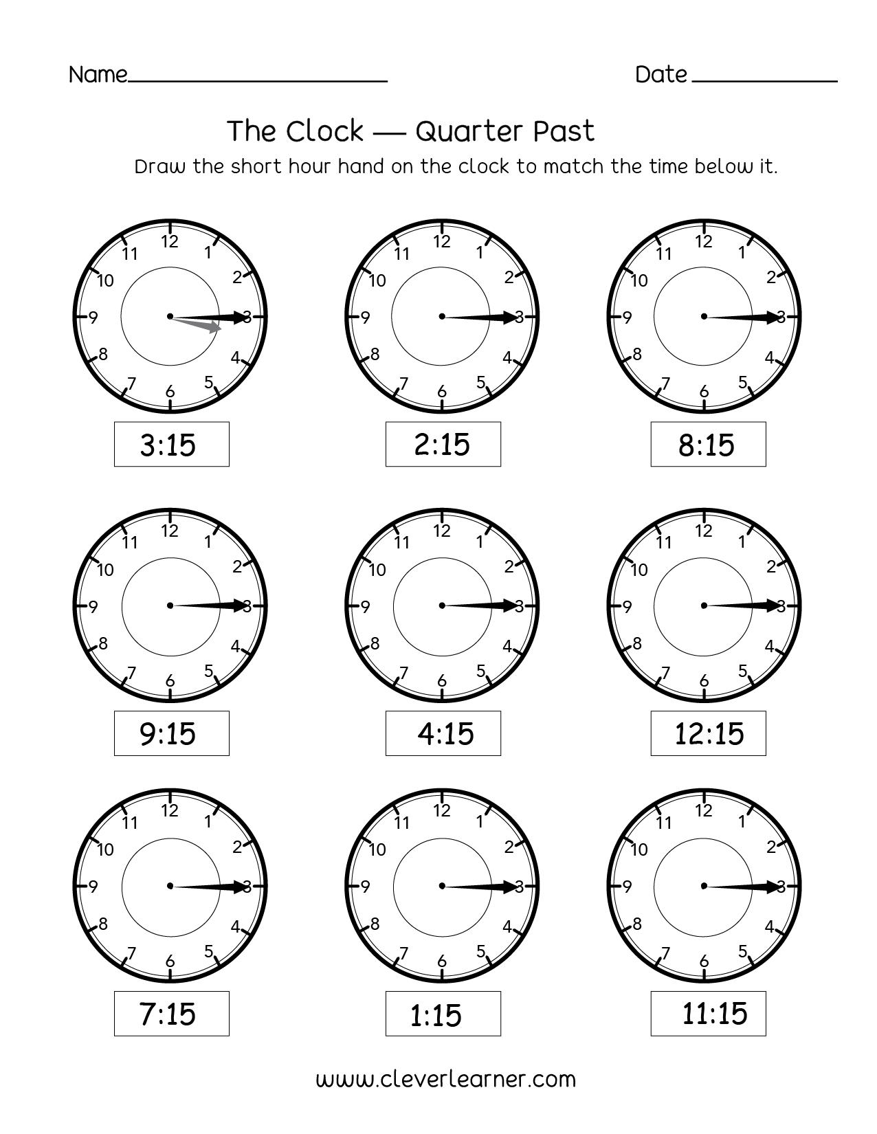 telling time quarter past the hour worksheets for 2nd graders. Black Bedroom Furniture Sets. Home Design Ideas