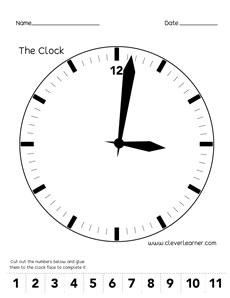 Label the clock activity worksheet