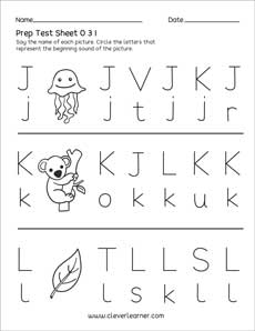 Uppercase And Lowercase Letters J K And L Test Sheets And