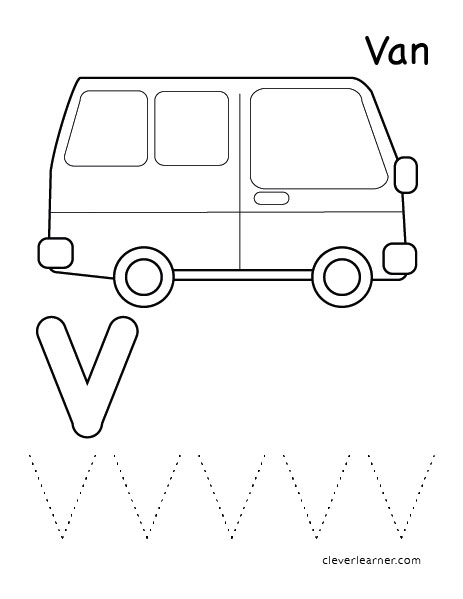 v is for van tracing sheets for preschool