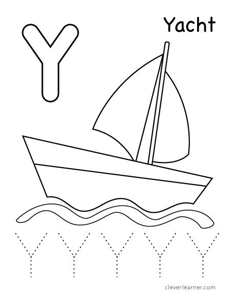 Letter Y writing and coloring sheet