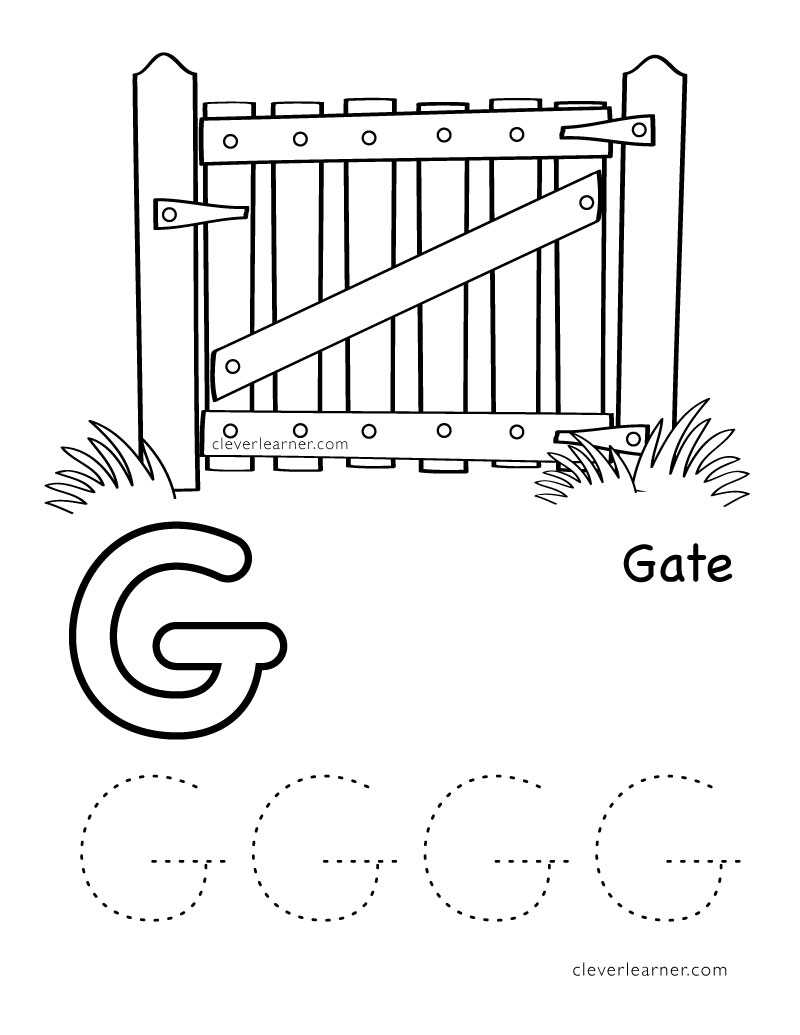 Workbooks letter n worksheets for preschoolers : Letter G writing and coloring sheet