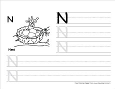 Cursive Writing Worksheet - Letter N | All Kids Network