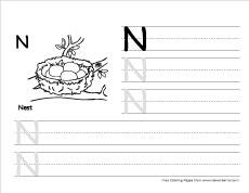Cursive Writing Worksheet - Letter N   All Kids Network