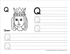 Letter q writing and coloring sheet how to write big q writing sheet expocarfo Images