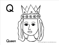 Q Is For Queen Coloring Page Letter Q writing and c...