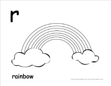 Letter R writing and coloring sheet