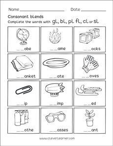 free consonant blends with l worksheets for preschool children. Black Bedroom Furniture Sets. Home Design Ideas
