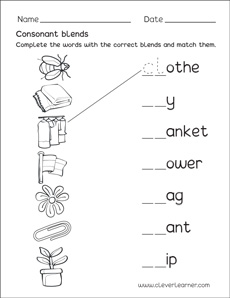 Free consonant blends with l worksheets for preschool children
